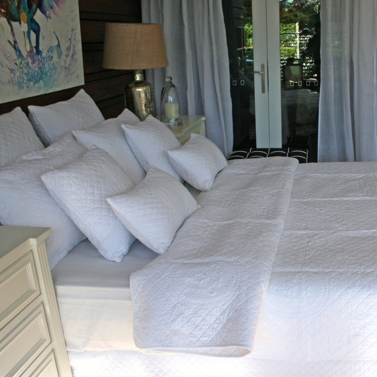 Angads Opal 100/% Cotton Quilted Bedspread Set With Two Pillowcases in White