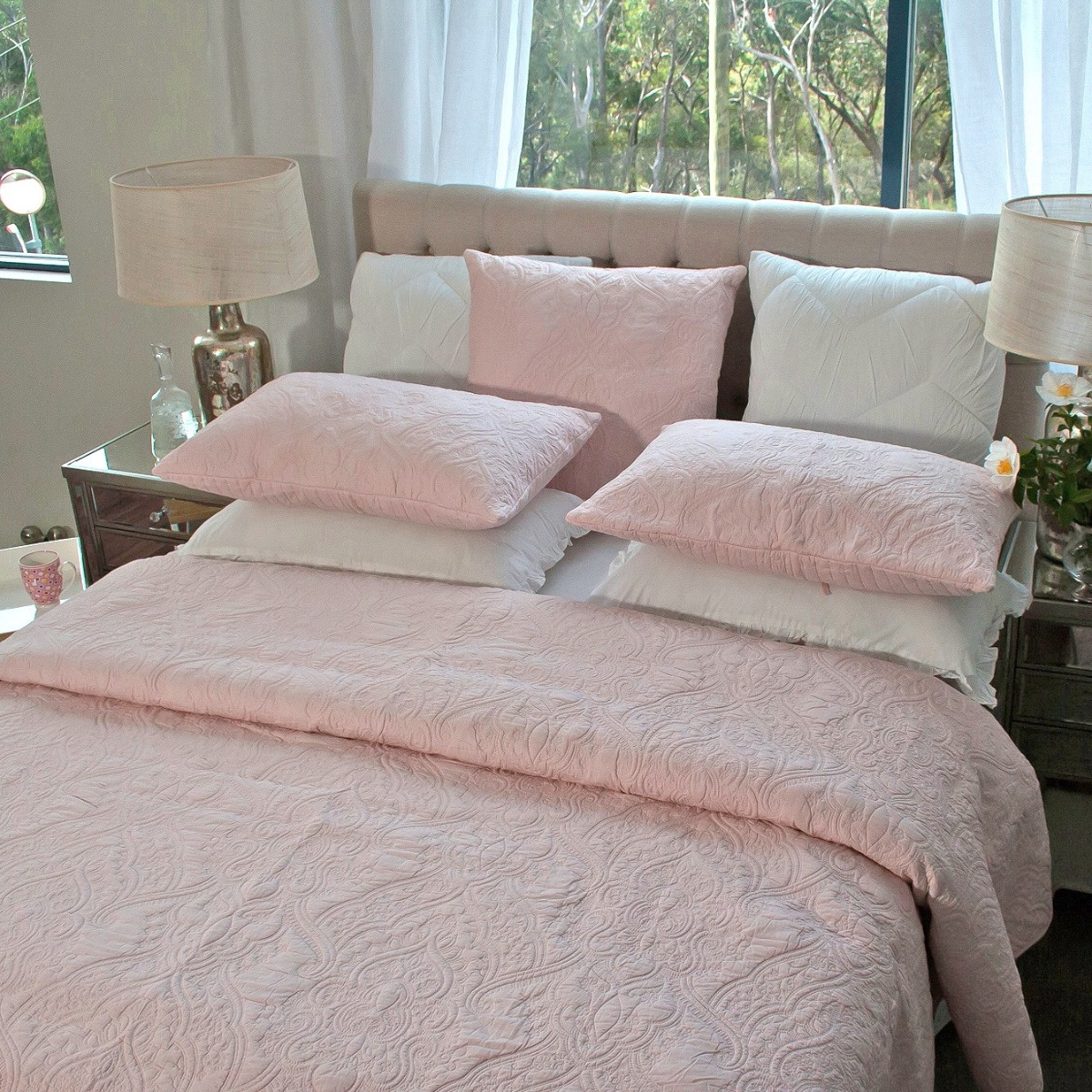 Angads-Dmask-100-Cotton-Quilted-Bedspread-Set-With-Two-Pillowcases-in-Pink